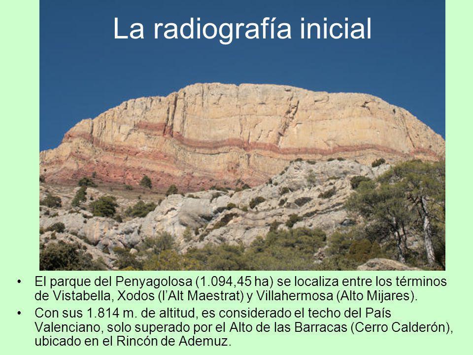 El parque del Penyagolosa (1.094,45 ha) se localiza entre los términos de Vistabella, Xodos (lAlt Maestrat) y Villahermosa (Alto Mijares). Con sus 1.8