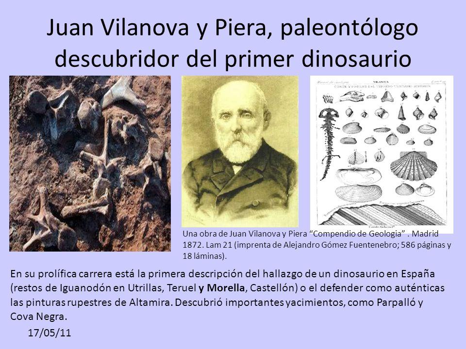 Juan Vilanova y Piera, paleontólogo descubridor del primer dinosaurio Una obra de Juan Vilanova y Piera Compendio de Geologia. Madrid 1872. Lam 21 (im