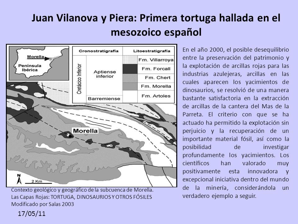 17/05/11 Juan Vilanova y Piera: Primera tortuga hallada en el mesozoico español Contexto geológico y geográfico de la subcuenca de Morella. Las Capas