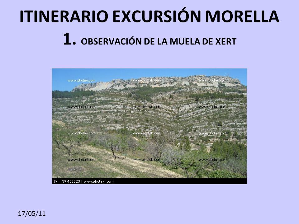 17/05/11 ITINERARIO EXCURSIÓN MORELLA 1. OBSERVACIÓN DE LA MUELA DE XERT
