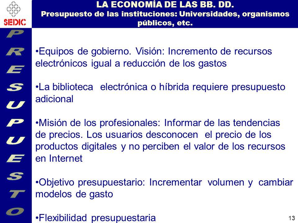 13 LA ECONOMÍA DE LAS BB.DD.