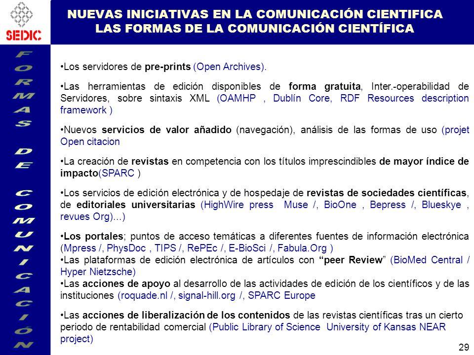 29 NUEVAS INICIATIVAS EN LA COMUNICACIÓN CIENTIFICA LAS FORMAS DE LA COMUNICACIÓN CIENTÍFICA Los servidores de pre-prints (Open Archives).