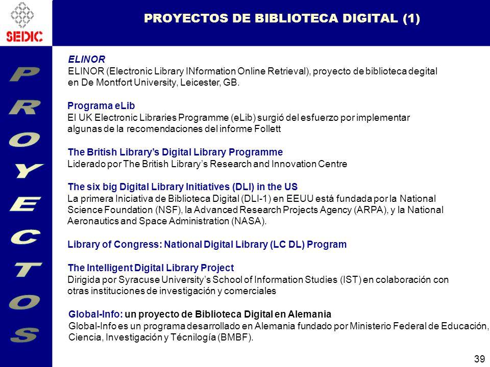 39 ELINOR ELINOR (Electronic Library INformation Online Retrieval), proyecto de biblioteca degital en De Montfort University, Leicester, GB.