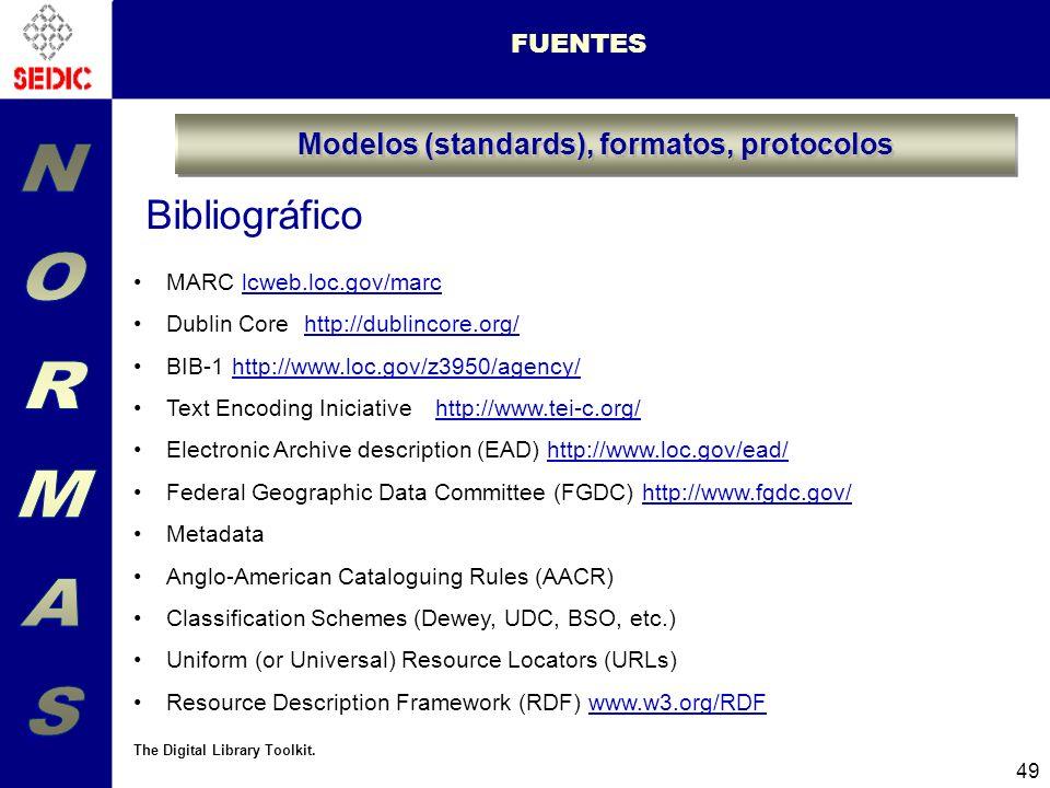 49 FUENTES Modelos (standards), formatos, protocolos MARC lcweb.loc.gov/marclcweb.loc.gov/marc Dublin Core http://dublincore.org/http://dublincore.org/ BIB-1http://www.loc.gov/z3950/agency/http://www.loc.gov/z3950/agency/ Text Encoding Iniciative http://www.tei-c.org/http://www.tei-c.org/ Electronic Archive description (EAD) http://www.loc.gov/ead/http://www.loc.gov/ead/ Federal Geographic Data Committee (FGDC) http://www.fgdc.gov/http://www.fgdc.gov/ Metadata Anglo-American Cataloguing Rules (AACR) Classification Schemes (Dewey, UDC, BSO, etc.) Uniform (or Universal) Resource Locators (URLs) Resource Description Framework (RDF) www.w3.org/RDFwww.w3.org/RDF The Digital Library Toolkit.