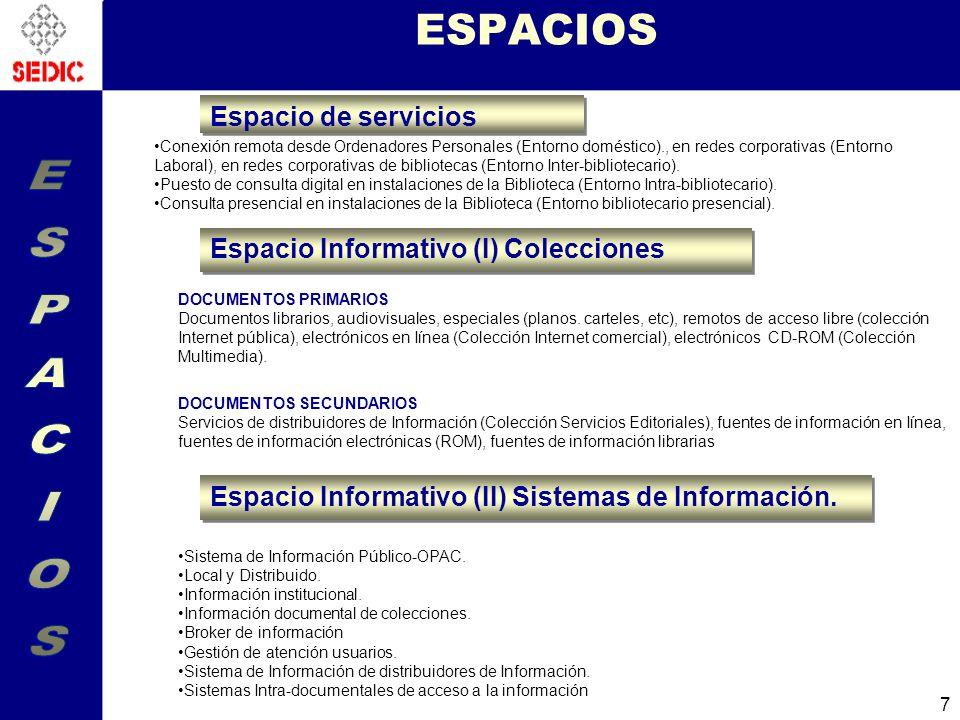 18 LOS SISTEMAS Y LOS ASPECTOS TECNICOS Búsqueda distribuida, enlaces de citas y vínculos entre recursos (Cross linking) Nombres identificadores y persitencia Problema de los metadatos: los nombres en una biblioteca digital.