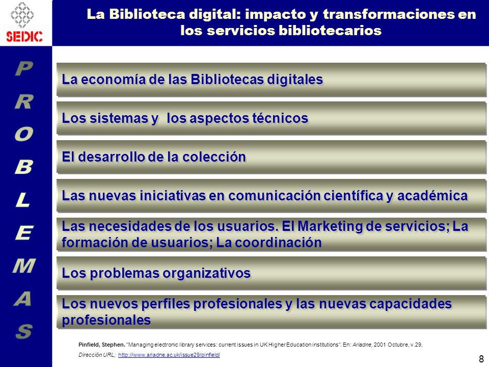 8 La Biblioteca digital: impacto y transformaciones en los servicios bibliotecarios Pinfield, Stephen.