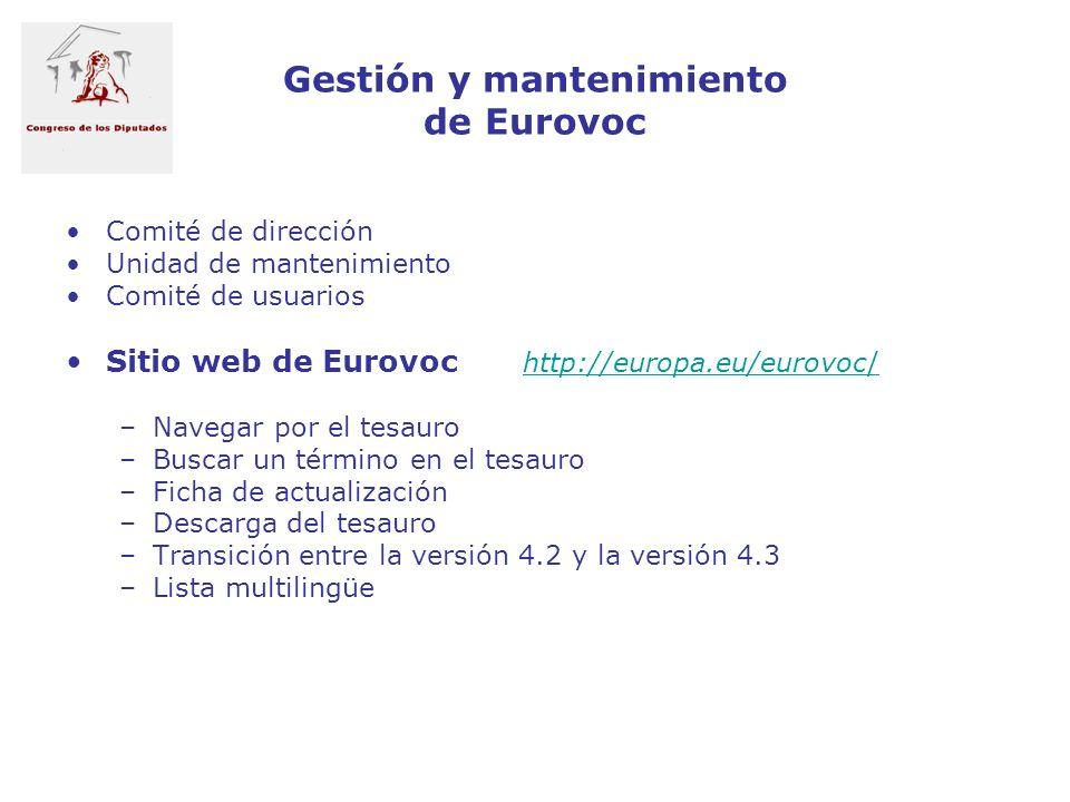Gestión y mantenimiento de Eurovoc Comité de dirección Unidad de mantenimiento Comité de usuarios Sitio web de Eurovoc http://europa.eu/eurovoc/http:/