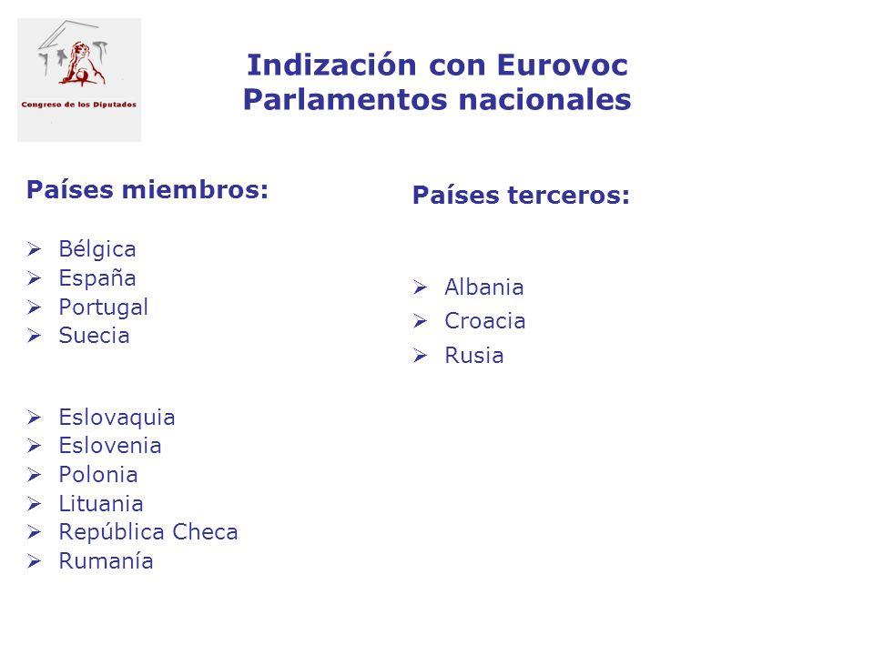 Indización con Eurovoc Parlamentos nacionales Países miembros: Bélgica España Portugal Suecia Eslovaquia Eslovenia Polonia Lituania República Checa Ru