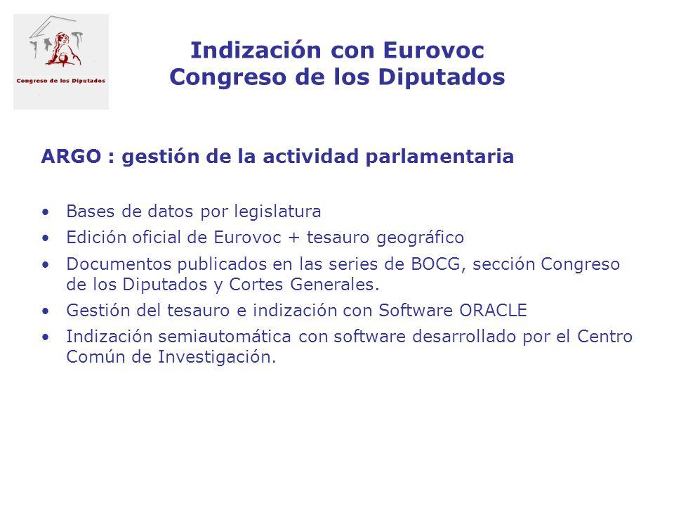 Indización con Eurovoc Congreso de los Diputados ARGO : gestión de la actividad parlamentaria Bases de datos por legislatura Edición oficial de Eurovo