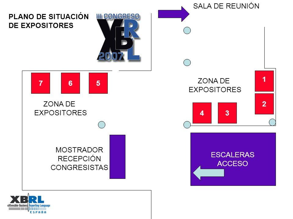 ESCALERAS ACCESO MOSTRADOR RECEPCIÓN CONGRESISTAS SALA DE REUNIÓN PLANO DE SITUACIÓN DE EXPOSITORES ZONA DE EXPOSITORES 2 4 3 6 7 5 1 ZONA DE EXPOSITORES