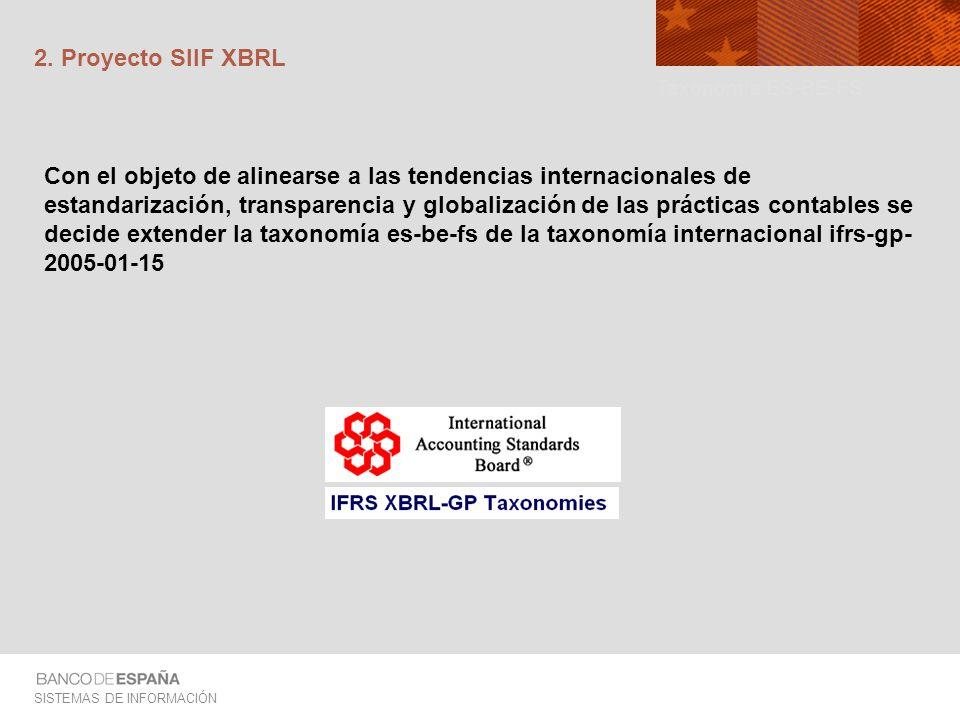 SISTEMAS DE INFORMACIÓN 2. Proyecto SIIF XBRL Con el objeto de alinearse a las tendencias internacionales de estandarización, transparencia y globaliz