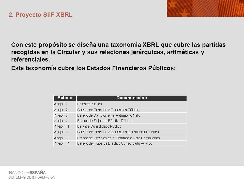 SISTEMAS DE INFORMACIÓN 2. Proyecto SIIF XBRL Con este propósito se diseña una taxonomía XBRL que cubre las partidas recogidas en la Circular y sus re