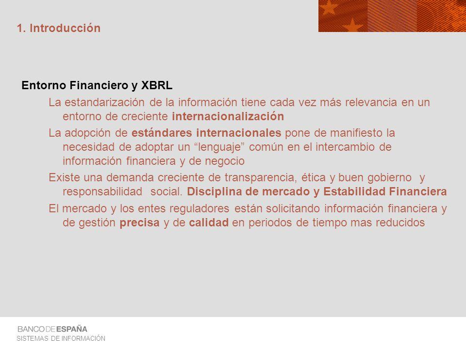 SISTEMAS DE INFORMACIÓN 1. Introducción Entorno Financiero y XBRL La estandarización de la información tiene cada vez más relevancia en un entorno de
