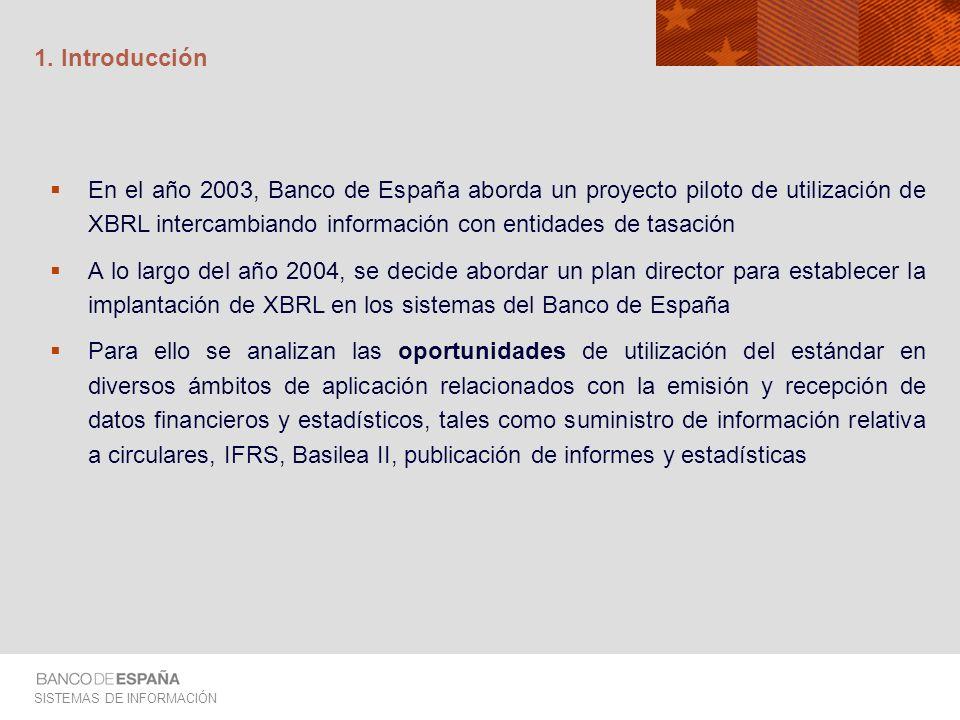 SISTEMAS DE INFORMACIÓN 1. Introducción En el año 2003, Banco de España aborda un proyecto piloto de utilización de XBRL intercambiando información co