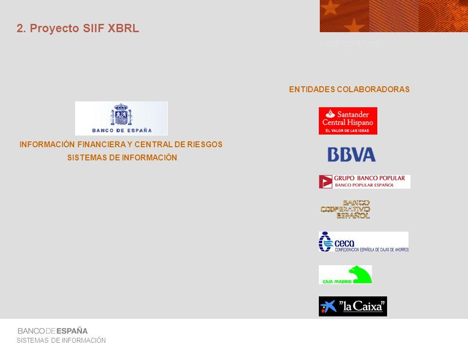 SISTEMAS DE INFORMACIÓN ASPECTOS FUNCIONALES Principales productos: Taxonomía ES-IFRS-FS adaptada para la transmisión de información XBRL Ayudas a las Entidades de Crédito para acelerar sus procesos de generación de XBRL Solución receptora de información XBRL en BE Envío a Banco de España XBRL Banco de España XBRL Genera ficheros en formato XBRL Los ficheros recibidos se verifican de acuerdo a la Taxonomía Se introducen en los sistemas actuales ES-IFRS- FS Labels Pres.