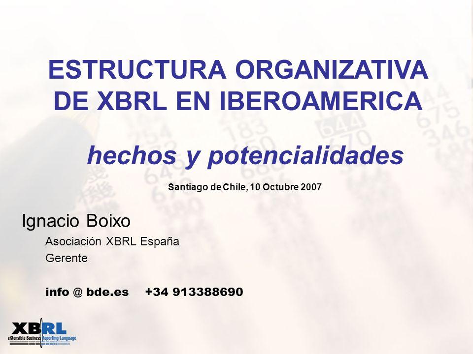 Ignacio Boixo Asociación XBRL España Gerente info @ bde.es +34 913388690 ESTRUCTURA ORGANIZATIVA DE XBRL EN IBEROAMERICA hechos y potencialidades Sant