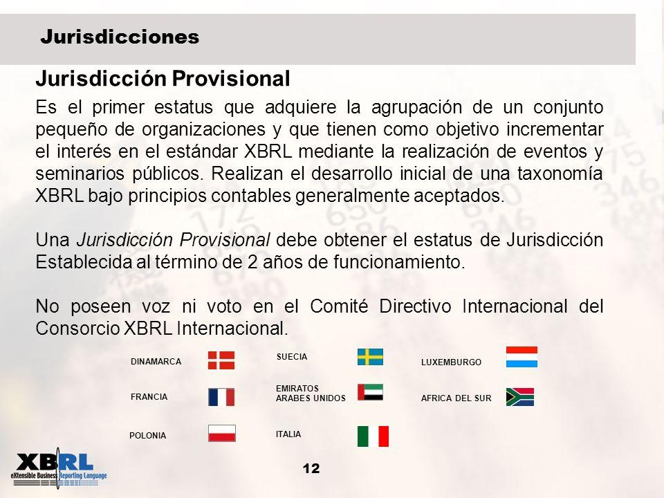 12 Jurisdicciones Jurisdicción Provisional Es el primer estatus que adquiere la agrupación de un conjunto pequeño de organizaciones y que tienen como