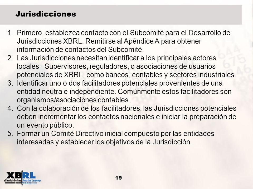 19 Jurisdicciones 1.Primero, establezca contacto con el Subcomité para el Desarrollo de Jurisdicciones XBRL. Remitirse al Apéndice A para obtener info