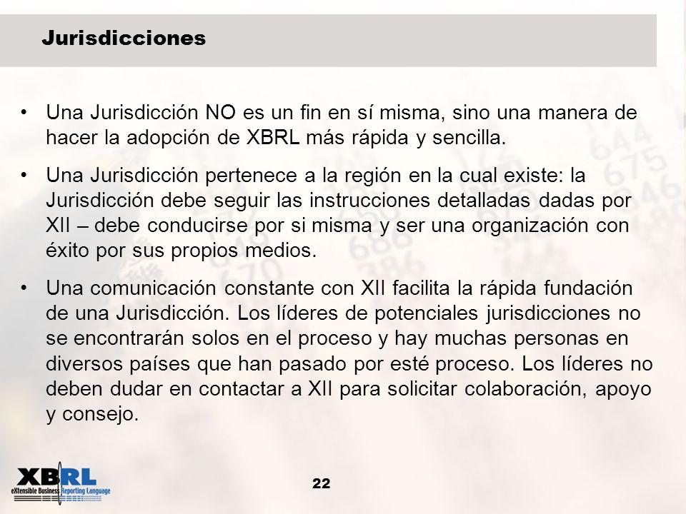 22 Jurisdicciones Una Jurisdicción NO es un fin en sí misma, sino una manera de hacer la adopción de XBRL más rápida y sencilla. Una Jurisdicción pert
