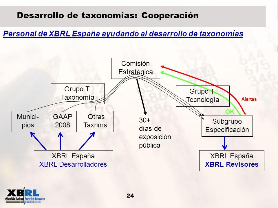 24 Desarrollo de taxonomías: Cooperación Grupo T. Taxonomía GAAP 2008 Subgrupo Especificación Comisión Estratégica Munici- pios Otras Taxnms. Alertas