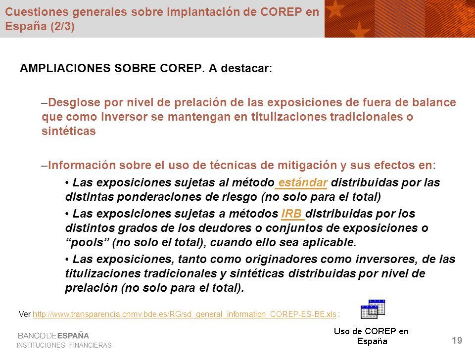INSTITUCIONES FINANCIERAS 19 Cuestiones generales sobre implantación de COREP en España (2/3) AMPLIACIONES SOBRE COREP. A destacar: –Desglose por nive