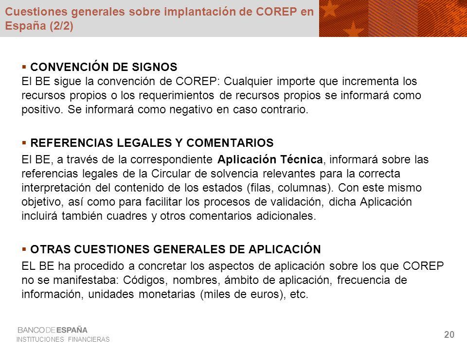 INSTITUCIONES FINANCIERAS 20 Cuestiones generales sobre implantación de COREP en España (2/2) CONVENCIÓN DE SIGNOS El BE sigue la convención de COREP: