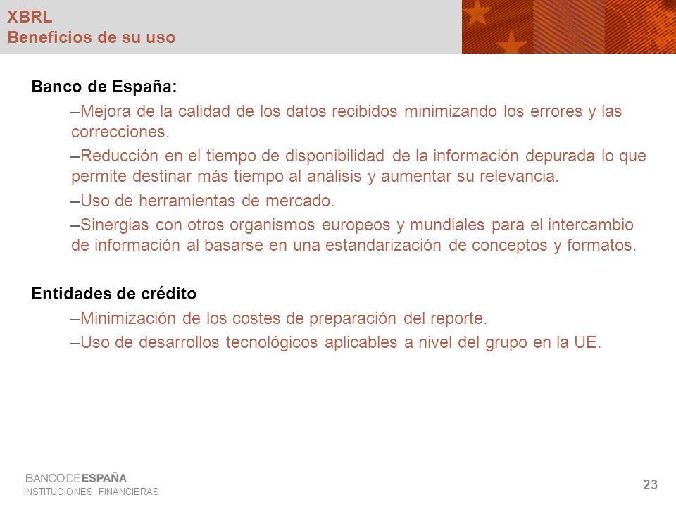 INSTITUCIONES FINANCIERAS 23 XBRL Beneficios de su uso Banco de España: –Mejora de la calidad de los datos recibidos minimizando los errores y las cor
