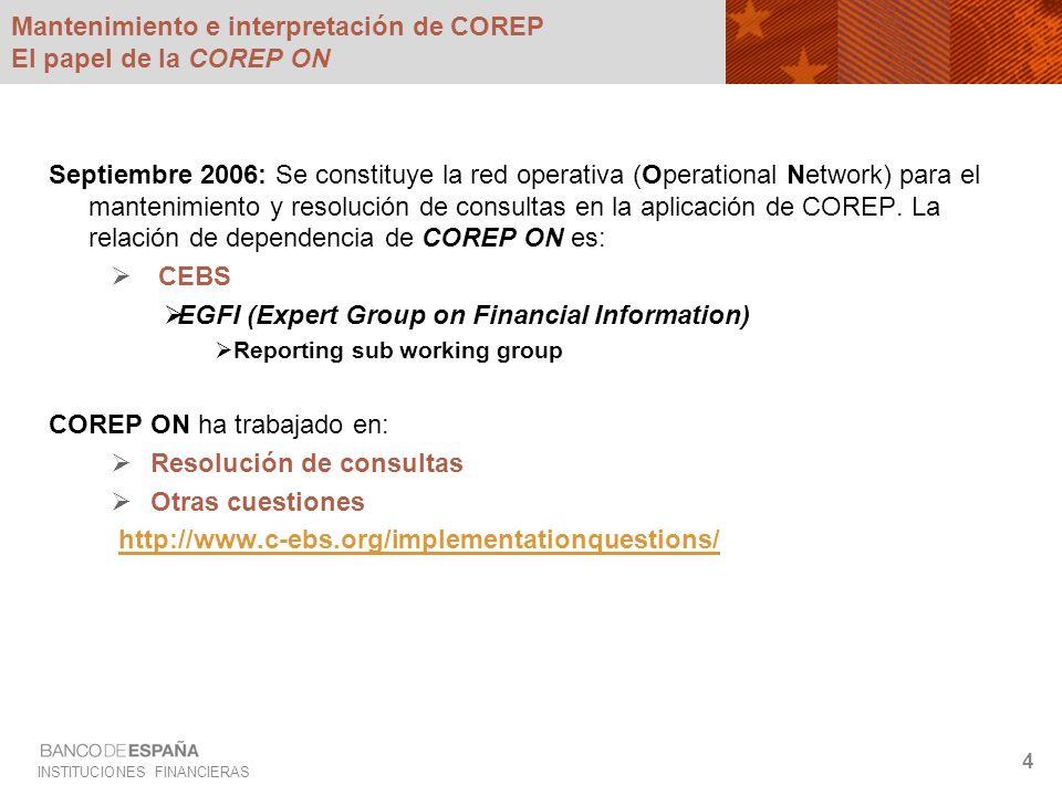 INSTITUCIONES FINANCIERAS 4 Mantenimiento e interpretación de COREP El papel de la COREP ON Septiembre 2006: Se constituye la red operativa (Operation