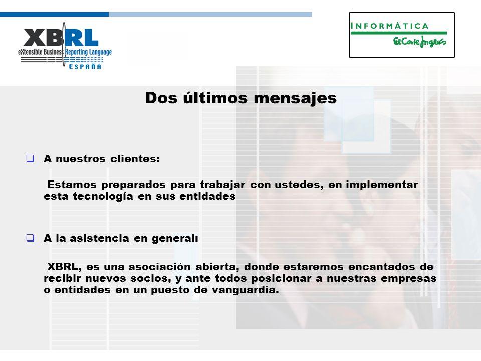 Dos últimos mensajes A nuestros clientes: Estamos preparados para trabajar con ustedes, en implementar esta tecnología en sus entidades A la asistencia en general: XBRL, es una asociación abierta, donde estaremos encantados de recibir nuevos socios, y ante todos posicionar a nuestras empresas o entidades en un puesto de vanguardia.