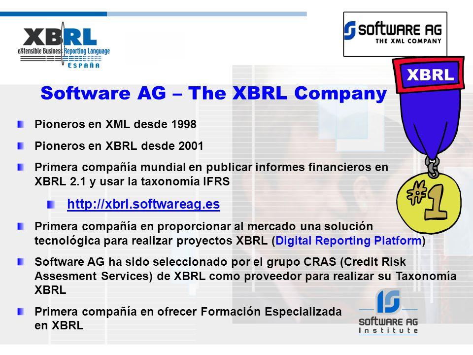 Software AG – The XBRL Company Pioneros en XML desde 1998 Pioneros en XBRL desde 2001 Primera compañía mundial en publicar informes financieros en XBRL 2.1 y usar la taxonomía IFRS http://xbrl.softwareag.es Primera compañía en proporcionar al mercado una solución tecnológica para realizar proyectos XBRL (Digital Reporting Platform) Software AG ha sido seleccionado por el grupo CRAS (Credit Risk Assesment Services) de XBRL como proveedor para realizar su Taxonomía XBRL Primera compañía en ofrecer Formación Especializada en XBRL XBRL