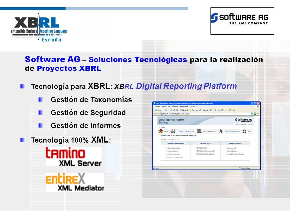 Software AG – Soluciones Tecnológicas para la realización de Proyectos XBRL Tecnología para XBRL : XBRL Digital Reporting Platform Gestión de Taxonomías Gestión de Seguridad Gestión de Informes Tecnología 100% XML :
