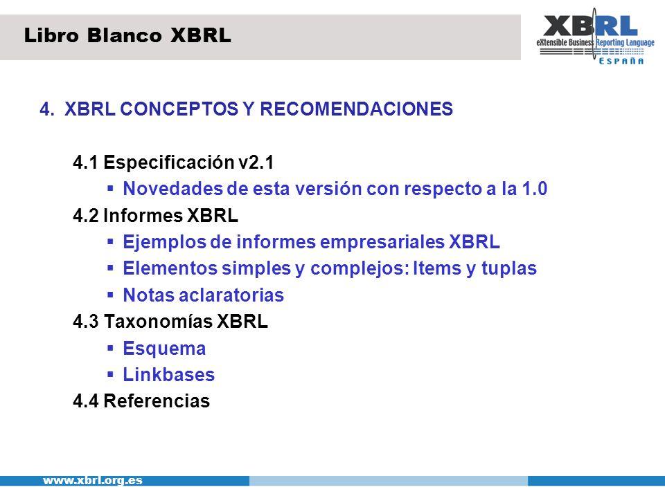 www.xbrl.org.es 4.XBRL CONCEPTOS Y RECOMENDACIONES (II) 4.5 Almacenamiento 4.5.1 Almacenamiento XML/XBRL Almacenamiento de documentos XBRL en ficheros texto Almacenamiento en bases de datos relacionales Transformando los contenidos XBRL Almacenando los documentos XBRL Almacenamiento en bases de datos XML nativas 4.5.2 Lenguajes de consulta XML Xquery Libro Blanco XBRL