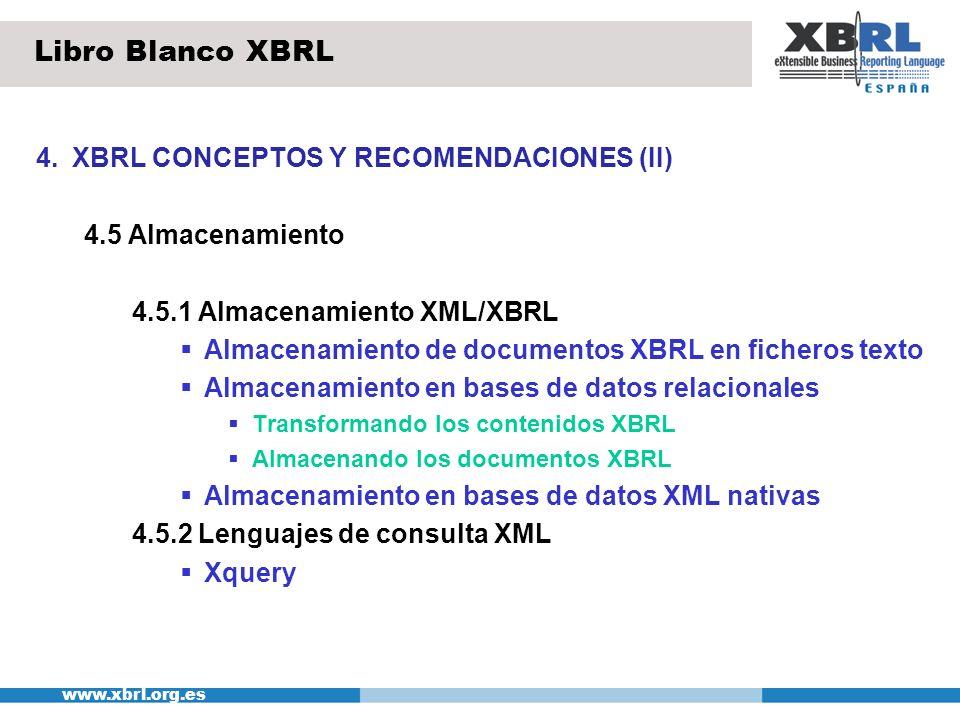 www.xbrl.org.es 4.XBRL CONCEPTOS Y RECOMENDACIONES (III) 4.6 Envío y recepción de informes XBRL Servicios web (protocolos XML-RPC y SOAP) Correo electrónico FTP 4.7 Recepción de Información y tratamiento Libro Blanco XBRL XBRL Validación y verificación de acuerdo al esquema Taxonomí a XBRL descifrado del fichero XBRL Fichero listo para ser procesado Fichero recibido