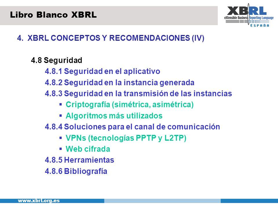 www.xbrl.org.es 4.XBRL CONCEPTOS Y RECOMENDACIONES (V) 4.9 Arquitectura 4.9.1 Arquitectura de referencia Arquitectura funcional y técnica 4.9.2 Rendimiento Recomendaciones de diseño para optimizar el rendimiento de las aplicaciones XBRL Gráficas de tiempo de respuesta en función del nº de elementos de la taxonomía de algunos de los procesos más habituales 4.10 Versionado Causas de cambios en las taxonomías Buenas prácticas de versionado Libro Blanco XBRL