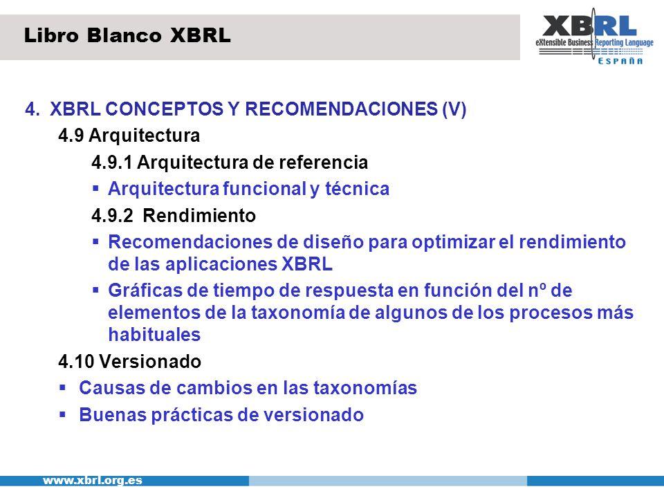 www.xbrl.org.es 4.XBRL CONCEPTOS Y RECOMENDACIONES (V) 4.9 Arquitectura 4.9.1 Arquitectura de referencia Arquitectura funcional y técnica 4.9.2 Rendim