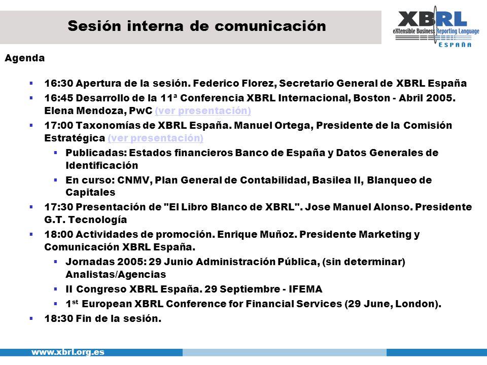 www.xbrl.org.es Sesión interna de comunicación Agenda 16:30 Apertura de la sesión. Federico Florez, Secretario General de XBRL España 16:45 Desarrollo
