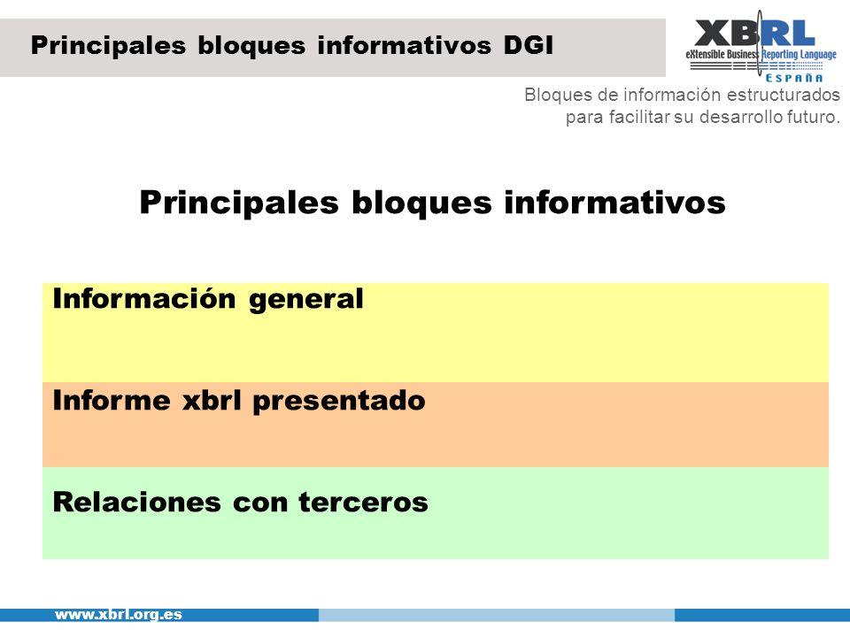 www.xbrl.org.es Principales bloques informativos DGI Bloques de información estructurados para facilitar su desarrollo futuro. Principales bloques inf