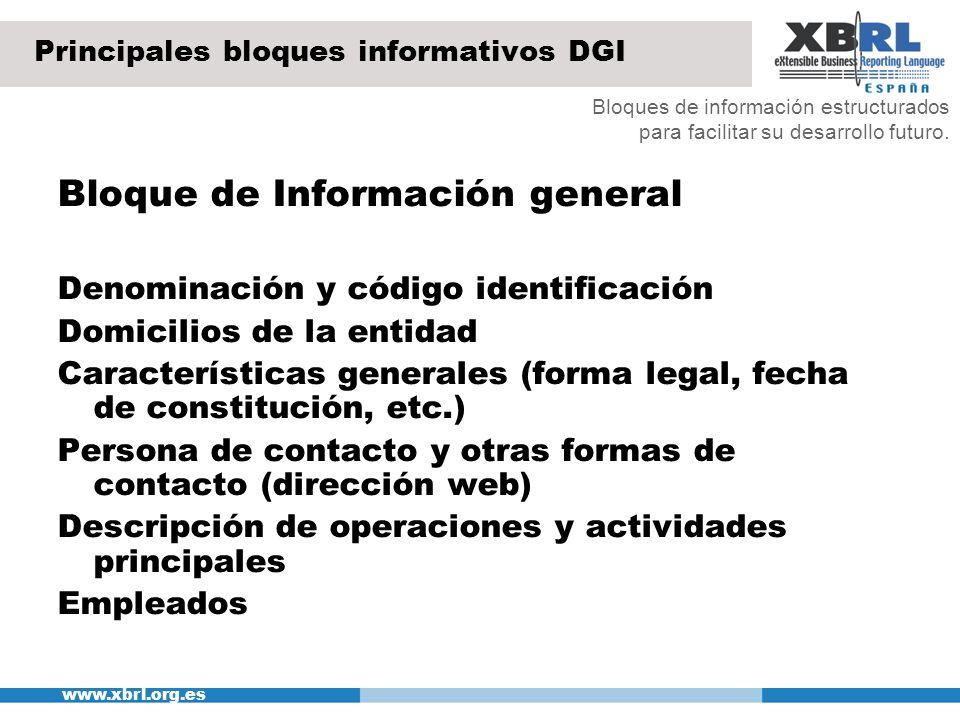 www.xbrl.org.es Principales bloques informativos DGI Bloque de Información general Denominación y código identificación Domicilios de la entidad Carac