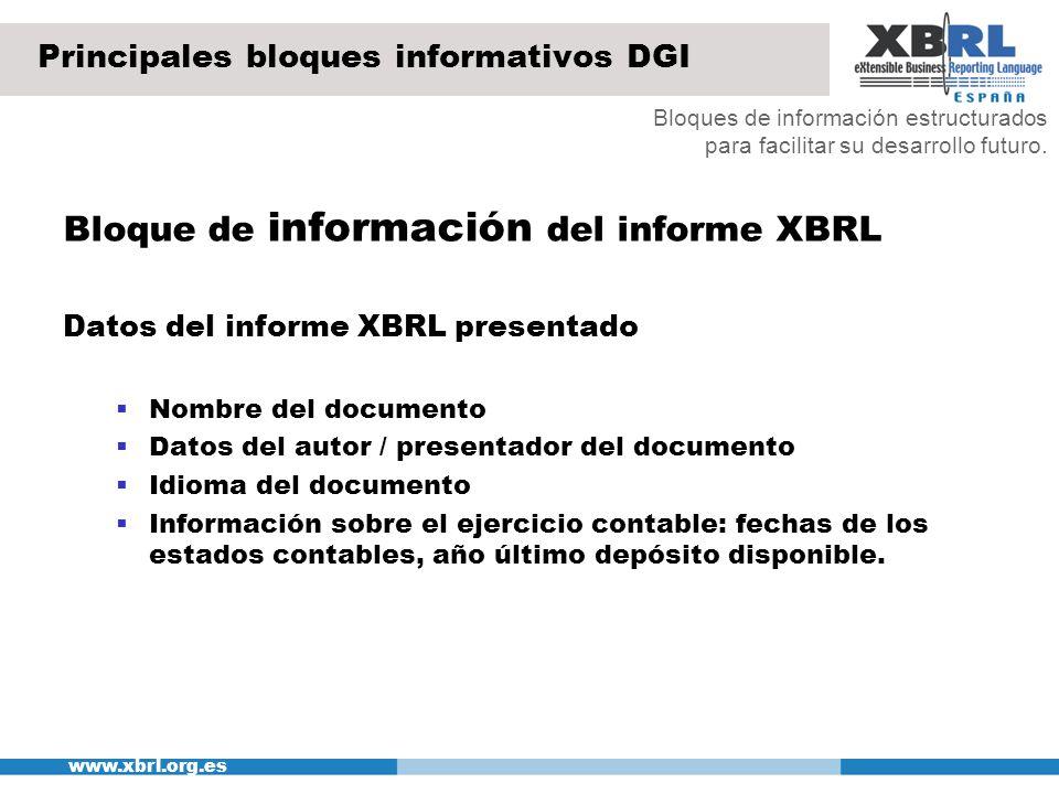 www.xbrl.org.es Principales bloques informativos DGI Bloque de información del informe XBRL Datos del informe XBRL presentado Nombre del documento Dat
