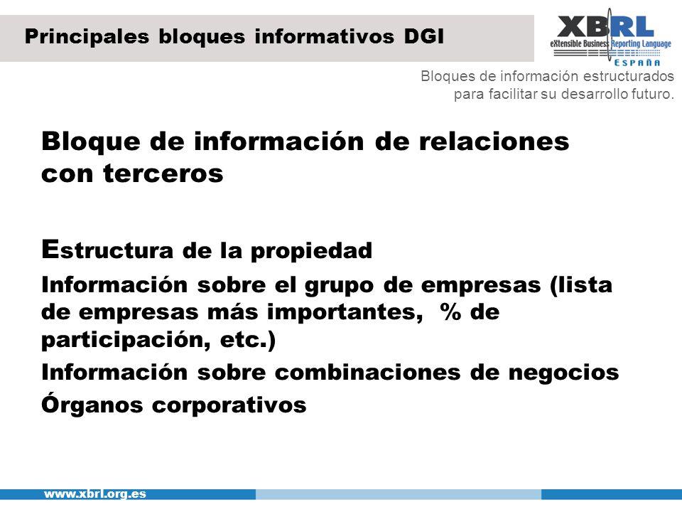 www.xbrl.org.es Principales bloques informativos DGI Bloque de información de relaciones con terceros E structura de la propiedad Información sobre el