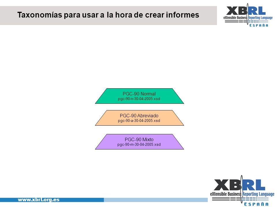 www.xbrl.org.es Taxonomías para usar a la hora de crear informes PGC-90 Normal pgc-90-n-30-04-2005.xsd PGC-90 Abreviado pgc-90-a-30-04-2005.xsd PGC-90