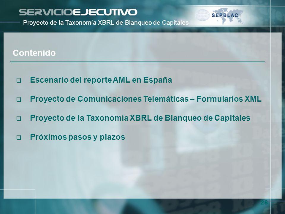 28 Escenario del reporte AML en España Proyecto de Comunicaciones Telemáticas – Formularios XML Proyecto de la Taxonomía XBRL de Blanqueo de Capitales