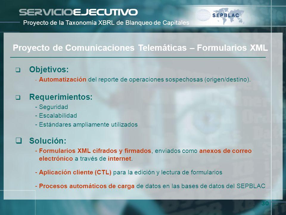 30 Objetivos: - Automatización del reporte de operaciones sospechosas (origen/destino). Requerimientos: -Seguridad -Escalabilidad -Estándares ampliame