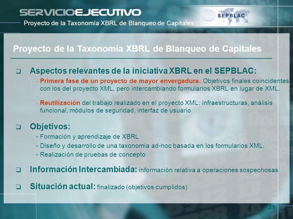 31 Aspectos relevantes de la iniciativa XBRL en el SEPBLAC: - Primera fase de un proyecto de mayor envergadura. Objetivos finales coincidentes con los