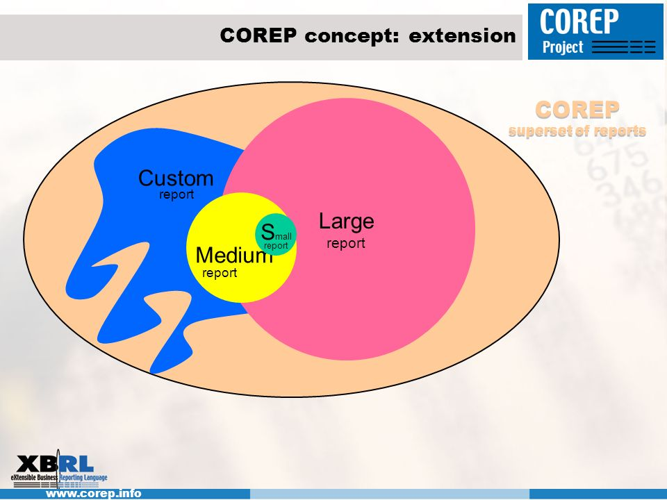 www.corep.info Large report Medium report COREP concept: extension S mall report Custom report COREP superset of reports
