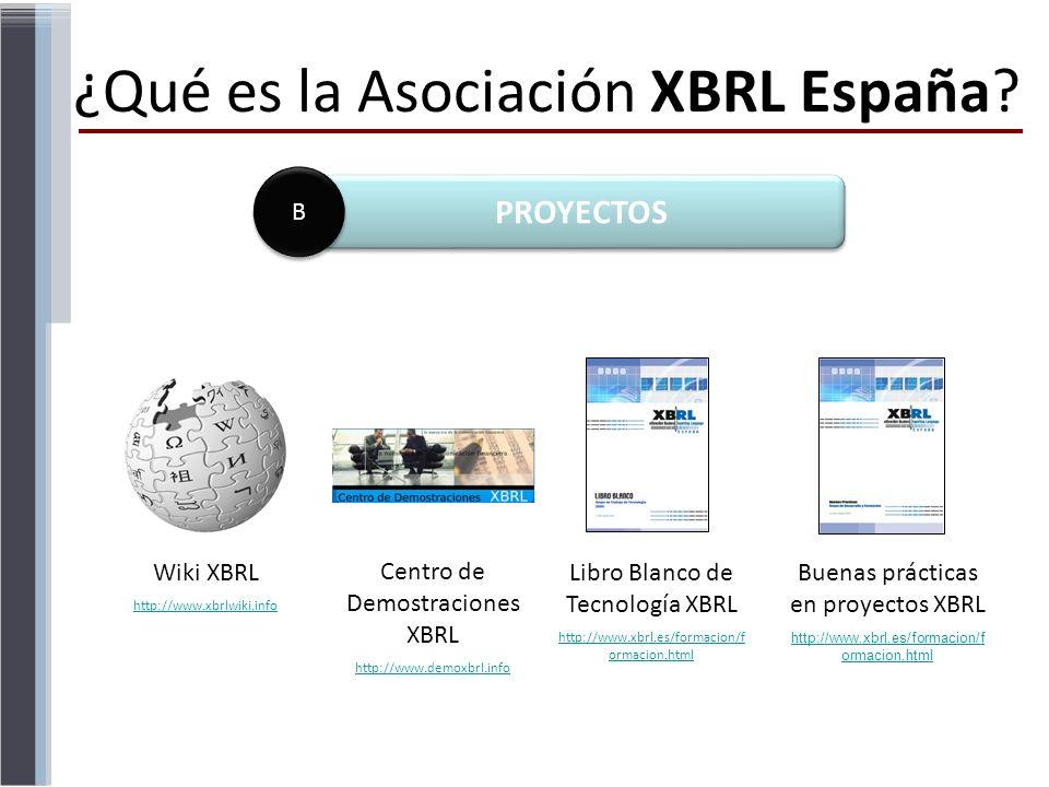 ¿Qué es la Asociación XBRL España? Wiki XBRL http://www.xbrlwiki.info Centro de Demostraciones XBRL http://www.demoxbrl.info Libro Blanco de Tecnologí
