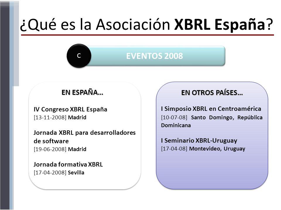 ¿Qué es la Asociación XBRL España? EN OTROS PAÍSES… IV Congreso XBRL España [13-11-2008] Madrid Jornada XBRL para desarrolladores de software [19-06-2