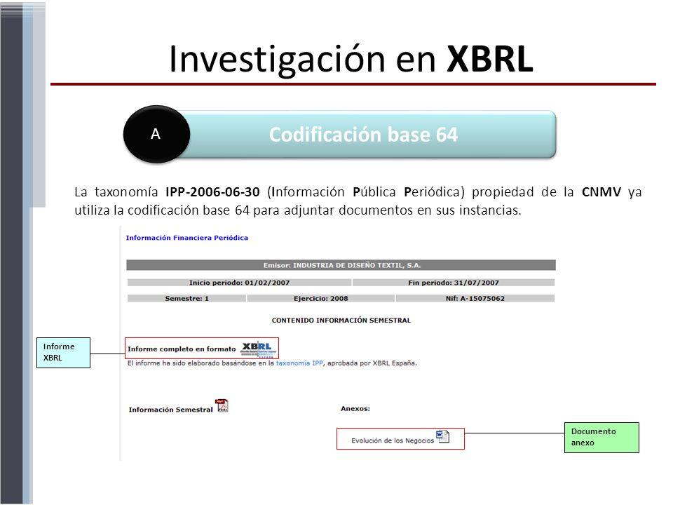 La taxonomía IPP-2006-06-30 (Información Pública Periódica) propiedad de la CNMV ya utiliza la codificación base 64 para adjuntar documentos en sus in