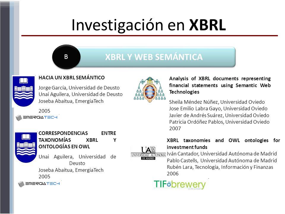 Investigación en XBRL XBRL Y WEB SEMÁNTICA B B HACIA UN XBRL SEMÁNTICO Jorge García, Universidad de Deusto Unai Aguilera, Universidad de Deusto Joseba