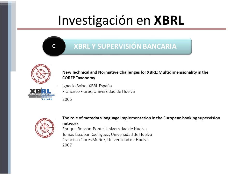 Investigación en XBRL XBRL Y SUPERVISIÓN BANCARIA C C New Technical and Normative Challenges for XBRL: Multidimensionality in the COREP Taxonomy Ignac